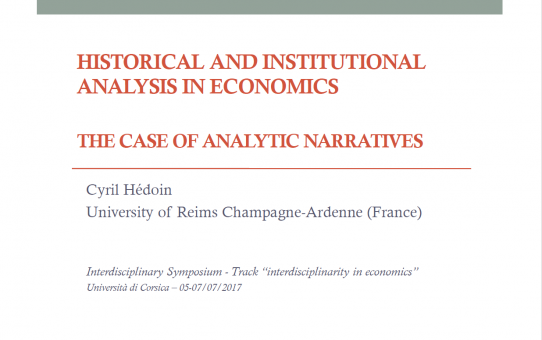 Historical and Institutional Analysis in Economics: The Case of Analytic Narratives