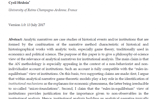 "Working paper: ""History, Analytic Narratives and the Rules-in-Equilibrium View of Institutions"""