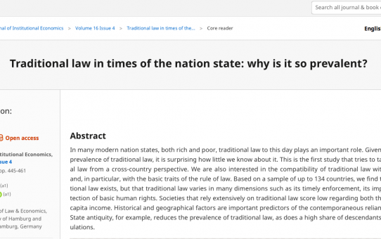 Traditional law in times of the nation state: why is it so prevalent?