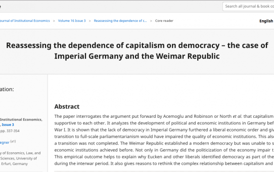 Reassessing the dependence of capitalism on democracy – the case of Imperial Germany and the Weimar Republic