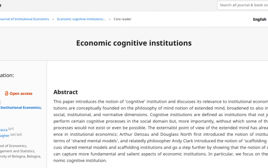 Economic cognitive institutions