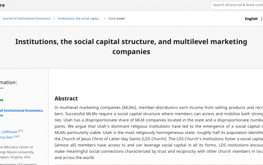 Institutions, the social capital structure, and multilevel marketing companies