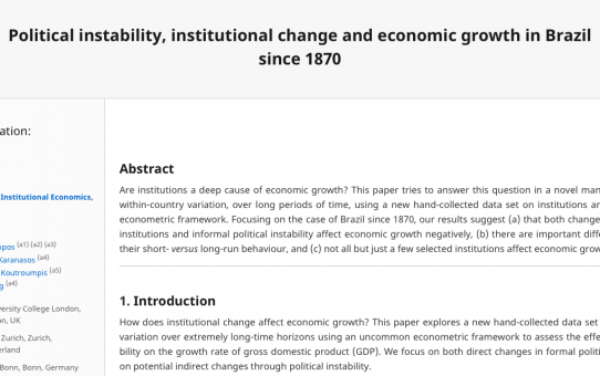 Political instability, institutional change and economic growth in Brazil since 1870