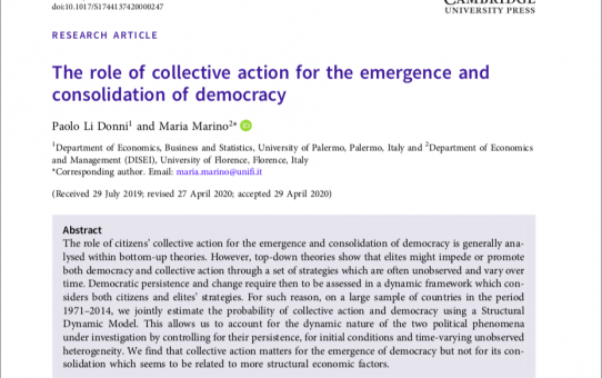 The role of collective action for the emergence and consolidation of democracy