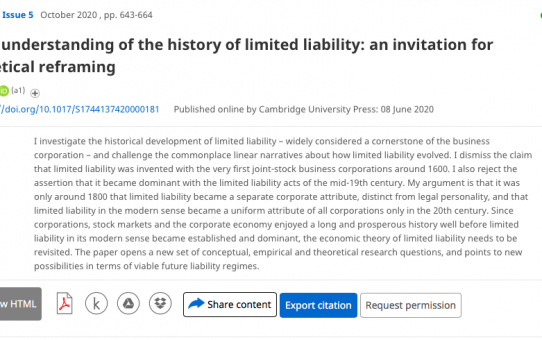 A New Understanding of the History of Limited Liability: An Invitation for Theoretical Reframing