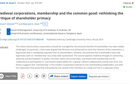 Medieval Corporations, Membership and the Common Good: Rethinking the Critique of Shareholder Primacy